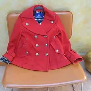 RED BURBERRY COAT